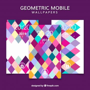 Free vector Pack of colorful rhombuses mobile wallpapers #19387