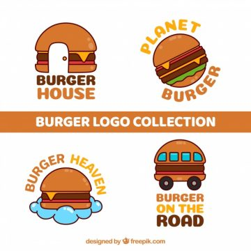Free vector Pack of hand drawn hamburger logos #21804