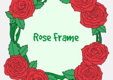 Free vector Pack of hand drawn roses frame #20855