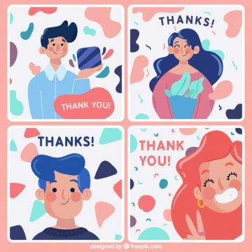 Free vector Pack of nice thank you cards with characters #22859