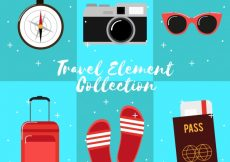 Free vector Pack of summer travel equipment in flat design #20645