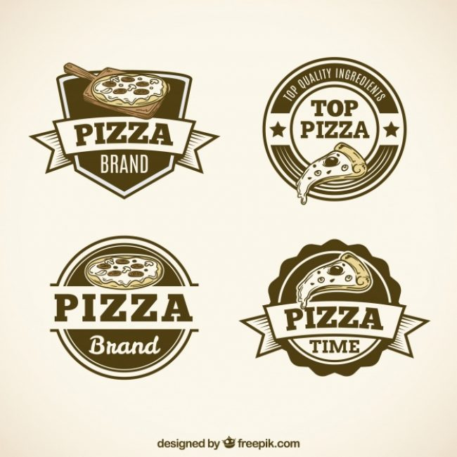 Free vector Pack of vintage pizza logos #20337