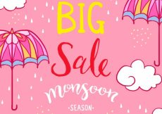 Free vector Pink sale background with umbrella and hand drawn clouds #20267