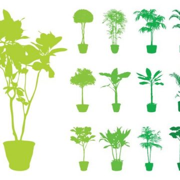 Free vector Potted Plants Silhouettes Set #22013