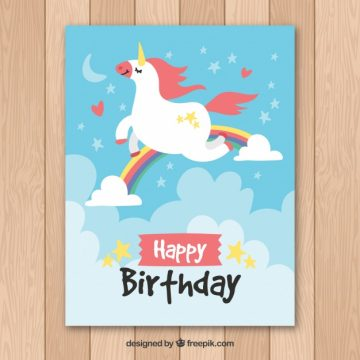 Free vector Pretty birthday card with unicorn flying  #20154