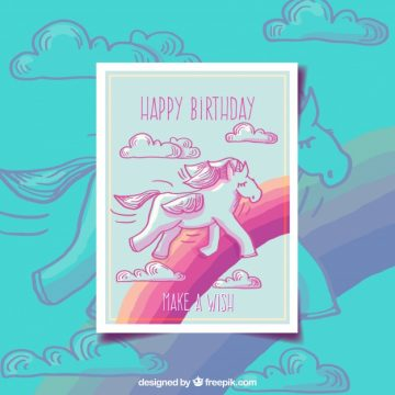 Free vector Pretty unicorn and rainbow birthday card #20136