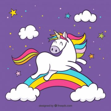 Free vector Purple clouds and rainbow background with jumping unicorn #19593