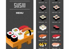 Free vector Restaurant menu, sushi #19435