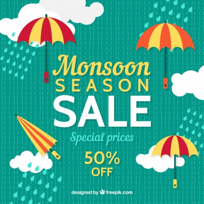 Free vector Retro background of monsoon sales with clouds and umbrella in flat design #20253