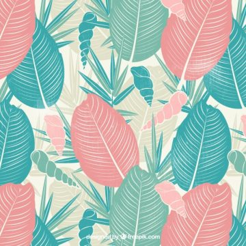 Free vector Retro background of palm leaves and hand drawn conch #21218