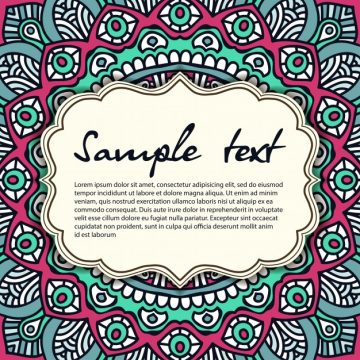 Free vector Retro mandala design with text template #19713