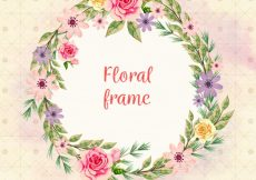Free vector Round floral frame with different watercolor flowers #23191