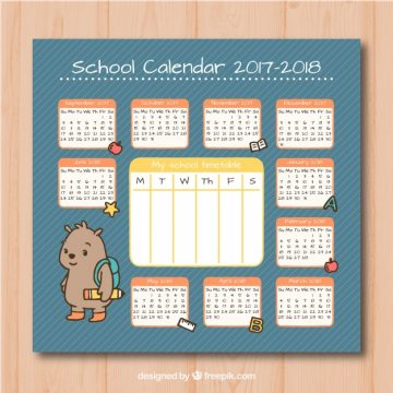 Free vector School calendar with cute little teddy bear #22933