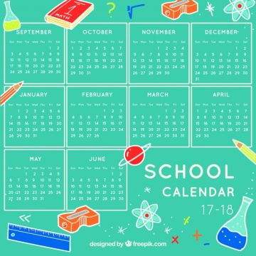 Free vector School calendar with elements of science #23147