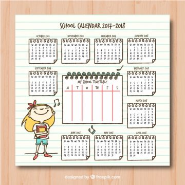Free vector School calendar with hand drawn girl #22925