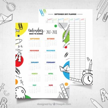 Free vector School calendar with hand drawn style #22020