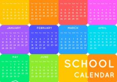 Free vector School calendar with many colors #23149