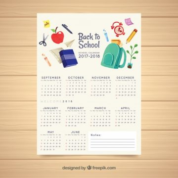 Free vector School calendar with watercolor materials #22006