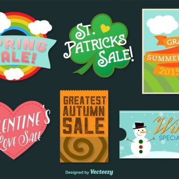 Free vector Seasonal and Holidays Illustrated Vector Badges #21525