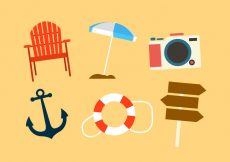 Free vector Set of Beach Objects in Vector #22796