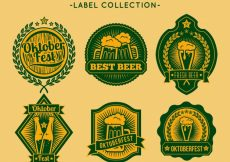 Free vector Set of beer oktoberfest stickers #21055