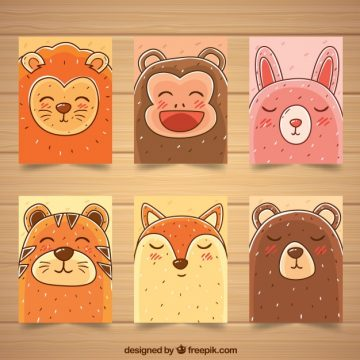 Free vector Set of card with happy animal faces #20453