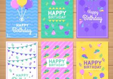 Free vector Set of colorful birthday cards in flat design #21810