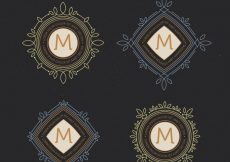 Free vector Set of elegant vintage monograms #21031