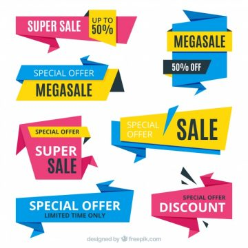 Free vector Set of four abstract discount banners #19828