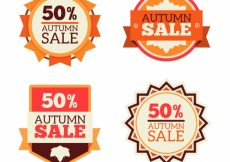 Free vector Set of four autumn sale stickers #23075