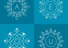 Free vector Set of four floral monograms #20921