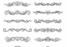 Free vector Set of hand drawn floral decorative borders #19065