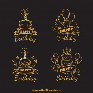 Free vector Set of hand drawn retro birthday stickers #20343