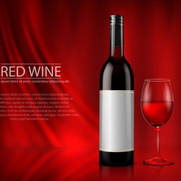 Free vector Set of realistic vector illustration of glass wine bottles and glasses with white and red wine #22983