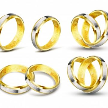 Free vector Set of realistic vector illustrations of gold wedding rings with engraving #22979