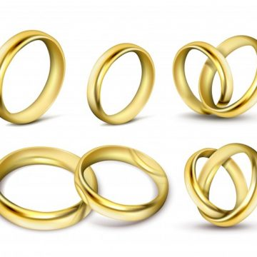 Free vector Set of realistic vector illustrations of gold wedding rings with shadow #22999