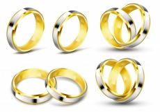 Free vector Set of realistic vector illustrations of gold wedding rings with shadow #22989
