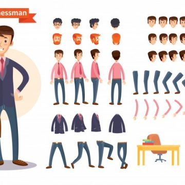 Free vector Set of vector cartoon illustrations for creating a character, businessman. #23069