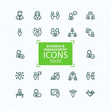 Free vector Set of vector illustrations fine line icons, collection of business people icons, personnel management #23057