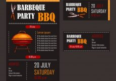 Free vector Set of vector illustrations of a bbq menu template, invitation card on a barbecue, gift certificate #23041