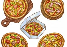 Free vector Set of vector illustrations whole pizza and slice, pizza on a wooden board, pizza in a box for delivery. #23019