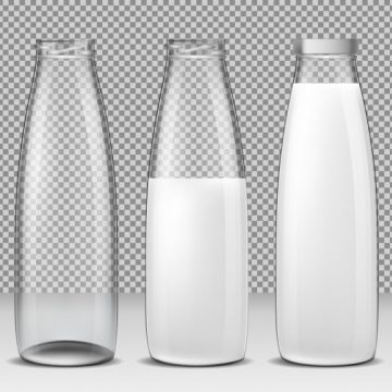 Free vector Set of vector isolated illustrations, icons, glass bottles for milk and dairy products #22973