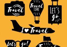 Free vector Set of vintage travel stickers #20641