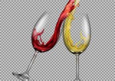 Free vector Set vector transparent glasses with white and red wine with a splash out of them #22975