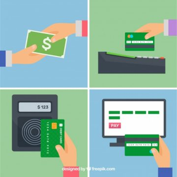 Free vector Set with credit card and cash payments #22953