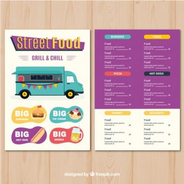 Free vector Street food menu with fun style #20985