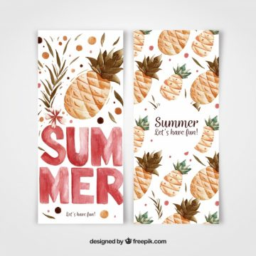 Free vector Summer banners with watercolor pineapples #21538