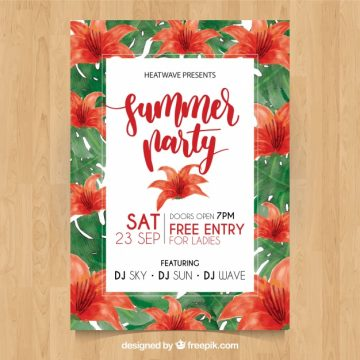Free vector Summer party poster with red watercolor flowers #21244