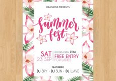 Free vector Summer party poster with watercolor tropical flowers #21246