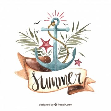 Free vector Summer watercolor background with anchor and palm leaves #21206